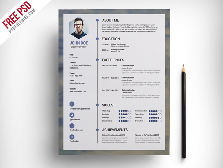 clean resume psd - Free Design Resume Templates